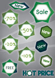 Discount Tags. Vector green price and discount tags Stock Images