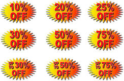 Discount tags. Various discount starburst tags varying in percentage discounts Stock Image