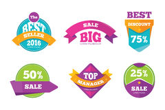 Discount tags banners and stickers vector collection for digital marketing Stock Photos