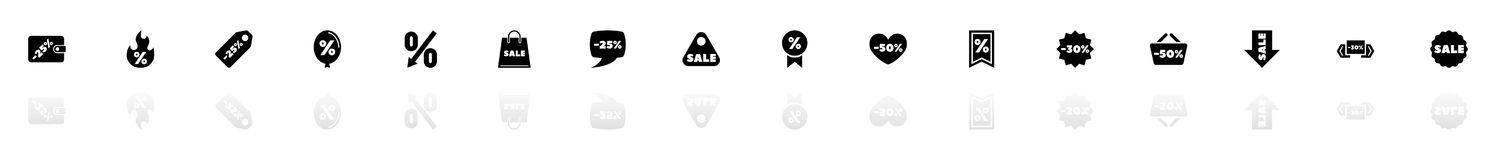 Discount Tags - Flat Vector Icons. Discount Tags icons - Black horizontal Illustration symbol on White Background with a mirror Shadow reflection. Flat Vector Royalty Free Stock Photos