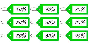 Discount Tags 4 Green Royalty Free Stock Photography