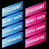 Discount tags and labels Stock Photo