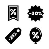 Discount tags. Simple Related Vector Icons. Set for Video, Mobile Apps, Web Sites, Print Projects and Your Design. Black Flat Illustration on White Background Stock Photography