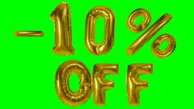 Discount 10 ten percent off golden balloon sale banner floating on green screen shopping offer - stock video