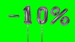 Discount 10 ten percent off silver balloon sale banner floating on green screen shopping offer -. Discount 10 ten percent off silver balloon sale banner floating stock video