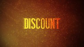 `DISCOUNT` text in front of beautiful golden particles,. Glitters background stock video