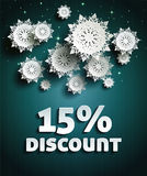 Discount. Text with numbers and snowflakes Royalty Free Stock Photos