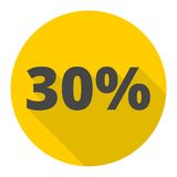 Discount thirty five 35 percent circular icon with long shadow Royalty Free Stock Image