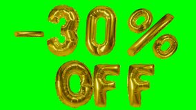 Discount 30 thirty percent off golden balloon sale banner floating on green screen shopping offer -. Discount 30 thirty percent off golden balloon sale banner stock video footage