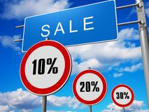 Discount traffic signs. Graphic illustration of sale discounts stock illustration