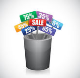 Discount trash sign illustration design Royalty Free Stock Photography