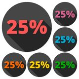 Discount twenty-five 25 percent circular icons set with long shadow. Vector icon Royalty Free Stock Images
