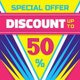 Discount up to 50 % - advertising vector banner for business projects. Big sale vector layout. Stock Photo