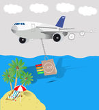 Discount on vacation. Flying landscape ocean Royalty Free Stock Photo