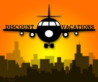 Discount Vacations Means Promo Vacation 3d Illustration. Discount Vacations Plane Means Promo Vacation 3d Illustration stock illustration