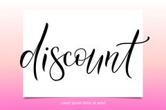 Discount vector illuctration. Vector illustration EPS 10 of calligraphy, logotype, text as banner, quotation, detail, concept of internet clothes shop page Royalty Free Stock Image