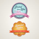 Discount vintage retro design style element Stock Images
