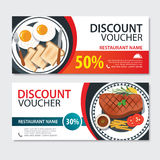 Discount voucher american food template design. Set of steak and Royalty Free Stock Image