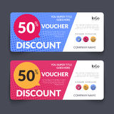 Discount Voucher Design Template with colorful. Halftone pattern, Gift Voucher Certificate Coupon Design Template, gift certificate business card, banner Royalty Free Stock Photo