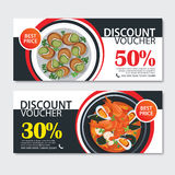 Discount voucher french food template design. Set of escargot, b. Discount voucher french food template flat design. Set of escargot, bouillabaisse Stock Photos