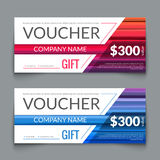 Discount Voucher market Design Template with colorful lines, Gift Voucher Certificate Coupon Template layout, award gift Stock Photography