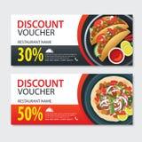 Discount voucher mexican food template design. Set of kebab. Discount voucher mexican food template flat design. Set of kebab royalty free illustration