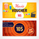 Discount voucher movie template, cinema gift certificate, coupon Royalty Free Stock Photos