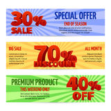 Discount voucher, sale coupon label designs. Special offer banners with percent off Royalty Free Stock Photography