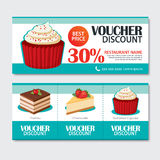 Discount voucher set of dessert template design. Set of cupcake, Royalty Free Stock Image