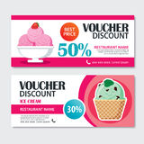 Discount voucher set of ice cream template design. Royalty Free Stock Photography