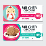 Discount voucher set of ice cream template design. Stock Images