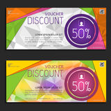 Discount voucher template, cute gift voucher certificate coupon Stock Images