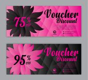 Discount Voucher template, gift voucher, Sale banner, Horizontal  layout, Coupon,  beauty, cosmetics cards, label, promotion stock illustration