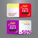 Discount voucher template. Half price sale Royalty Free Stock Image