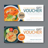 Discount voucher template with thai food flat design Royalty Free Stock Photos