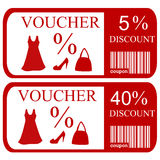 5% and 40% discount vouchers. Set of 5% and 40% discount vouchers Royalty Free Stock Photography