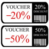 20% and 50% discount vouchers. On white background Stock Image