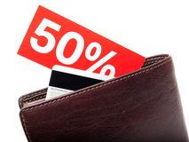 Discount wallet. Wallet with a percentage discount label on a white background Stock Photos