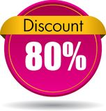 80 Discount web button. Vector illustration isolated on white background - 80 Discount web button icon stock illustration