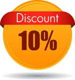 10 Discount web icon. Vector illustration isolated on white background - 10 Discount web button icon Royalty Free Stock Photo