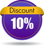 10 Discount web icon. Vector illustration isolated on white background - 10 Discount web button icon Stock Image