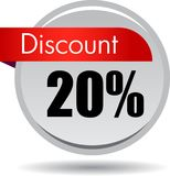 20 Discount web icon. Vector illustration isolated on white background - 20 Discount web button icon royalty free illustration