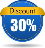 30 Discount web icon. Vector illustration isolated on white background - 30 Discount web button icon Stock Images