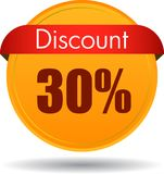 30 Discount web icon. Vector illustration isolated on white background - 30 Discount web button icon Royalty Free Stock Image
