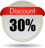 30 Discount web icon. Vector illustration isolated on white background - 30 Discount web button icon Royalty Free Stock Photo