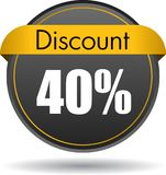 40 Discount web icon. Vector illustration isolated on white background - 40 Discount web button icon stock illustration