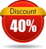 40 Discount web icon. Vector illustration isolated on white background - 40 Discount web button icon vector illustration