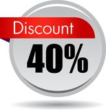 40 Discount web icon. Vector illustration isolated on white background - 40 Discount web button icon royalty free illustration