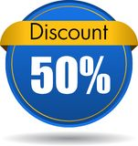 50 Discount web icon. Vector illustration isolated on white background - 50 Discount web button icon Royalty Free Stock Photos