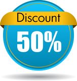 50 Discount web icon. Vector illustration isolated on white background - 50 Discount web button icon Stock Photo